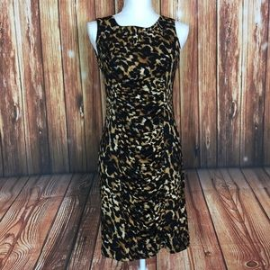 Calvin Klein SZ 6 Ruched Leopard Bodycon MidiDress